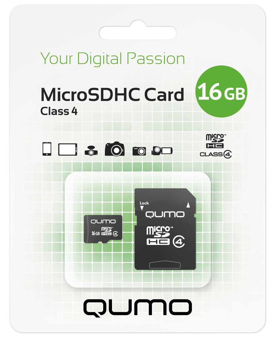QUMO microSDHC Class 4 16GB карта памяти + адаптер6909723175269Карта памяти QUMO microSDHC Class 4 позволяет осуществлять расширение памяти цифровых плееров, цифровых фотоаппаратов и видеокамер, коммуникаторов, смартфонов, интернет планшетов и других совместимых устройств. Карты памяти Qumo являются качественным решением для хранения и переноса различного рода информации, такой как, музыкальный файлы, фотографии, электронные документы и другие важные для вас файлы.Внимание: перед оформлением заказа, убедитесь в поддержке вашим электронным устройством карт памяти данного объема.
