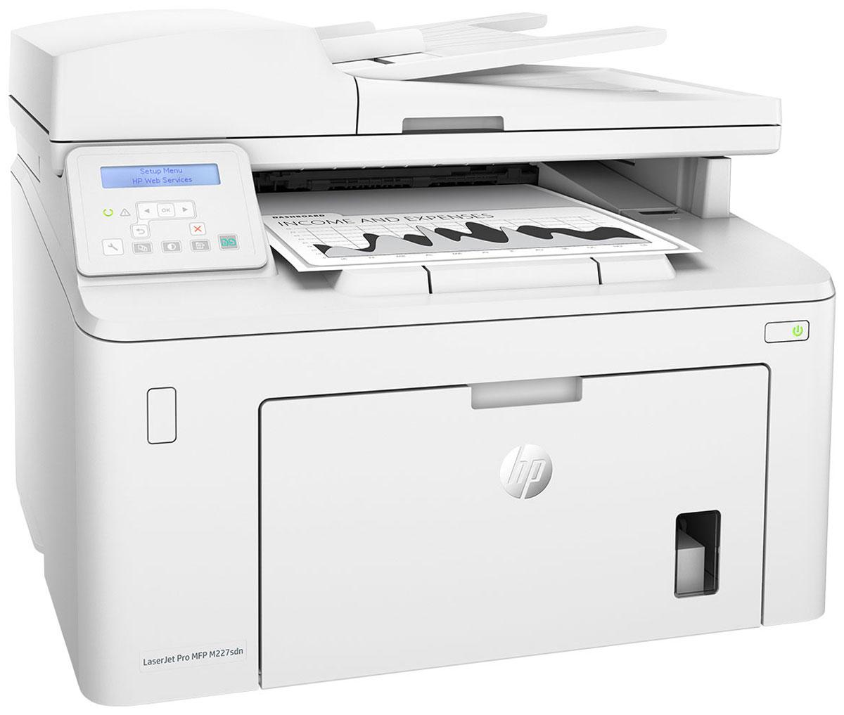 HP LaserJet Pro M227sdn МФУG3Q74AМФУ HP LaserJet Pro M227sdn с картриджами Jetlntelligence обеспечат более высокий уровень производительности и защиты. Задайте новые стандарты скорости для вашего бизнеса. Выполняйте быструю двустороннюю печать, сканирование и копирование с простым управлением для повышения эффективности. Высокие скорости, низкое энергопотребление Выполняйте печать, сканирование и копирование с помощью компактного многофункционального лазерного принтера, который занимает совсем немного места. Скорость печати соответствует требованиям развивающегося бизнеса: этот принтер оснащен модулем быстрой двусторонней печати, на печать первой страницы уходит всего 7 секунд. Экономьте электроэнергию благодаря технологии HP Auto-0n/Auto-0ff. Специальные бизнес-приложения позволяют выполнять сканирование напрямую в электронную почту, на USB- накопитель и в сетевые папки. Печать с iPhone и iPad с помощью технологии AirPrint с автоматическим...