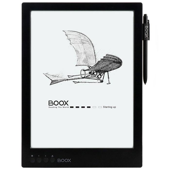 Onyx Boox Max, Black электронная книгаONYX MAX BlackOnyx Boox Max — это первое устройство Onyx с E-Ink экраном размером 13,3 дюйма. Модель базируется на операционной системе Android и может стать идеальным выбором для тех, кому приходится часто читать учебную или техническую литературу. Большой и комфортный для глаз дисплей, мощный процессор в сочетании с 1 Гб оперативной памяти и сенсорное управление — оптимальные инструменты для чтения файлов в форматах PDF и DjVu. Встроенный модуль Wi-Fi позволяет использовать устройство для полноценного сёрфинга по сети Интернет, а приложение Google Play, предустановленное на устройстве, существенно расширяет его функциональность. Дисплей E-Ink Mobius 13,3 дюйма идеален для просмотра документов, содержащих графики и схемы, а также для любых произвольных документов в формате PDF. Отсутствие мерцающей подсветки и принцип формирования изображения методом электронных чернил делает чтение комфортным для глаз. Сенсорный экран обеспечивает удобное управление при чтении: смещение...