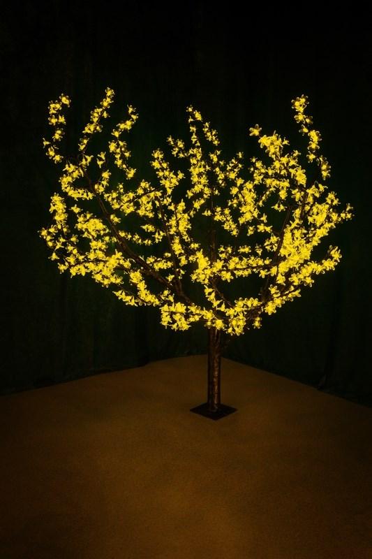Светодиодное дерево Neon-Night Сакура, цвет: желтый, диаметр кроны 180 см, высота 150 см531-101Световое дерево Сакура светодиодное, диаметр 1,8 м, высота 1,5 м, 864 лепестка
