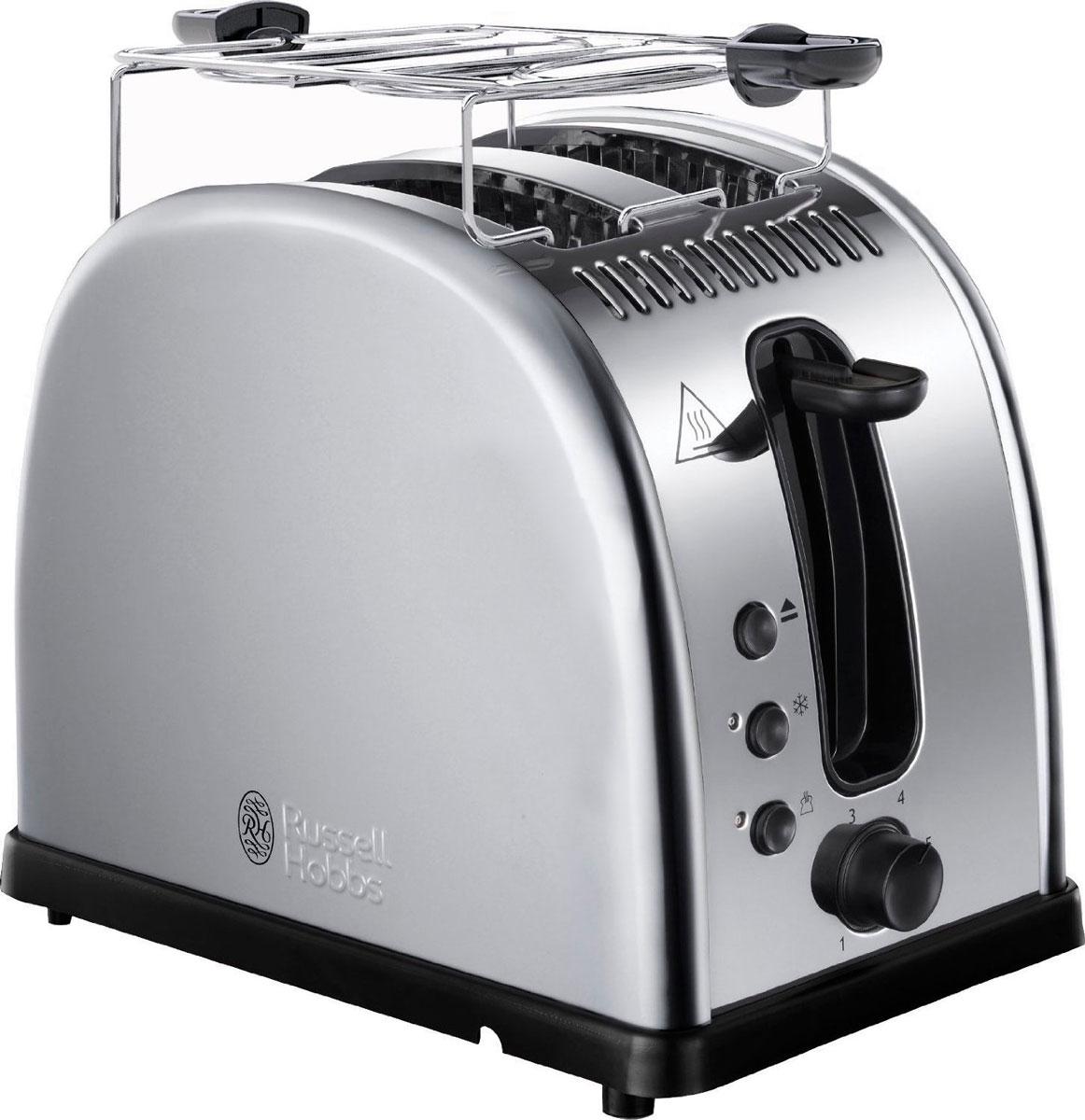Russell Hobbs 21290-56, Polished тостер21290-56Мало времени с утра и нет возможности долго готовить любимые тосты? Вам понравится тостер Russell Hobbs 21290-56 с системой быстрого (до 55%) приготовления тостов. Поджаренные ломтики хлеба, так как вы их любите, будут готовы быстро и идеально. Широкие слоты позволят приготовить ломтики различной толщины или другие типы хлеба, допустим, булочки. Тостер Russell Hobbs 21290-56 также обладает функцией разморозки, разогрева и принудительной отмены программы приготовления. Прибор обладает специальным дизайном решетки для разогрева и будет прекрасным подарком для всех любителей поджаренных ломтиков. Решетка для разогрева также поможет сохранить температуру приготовленных ломтиков.