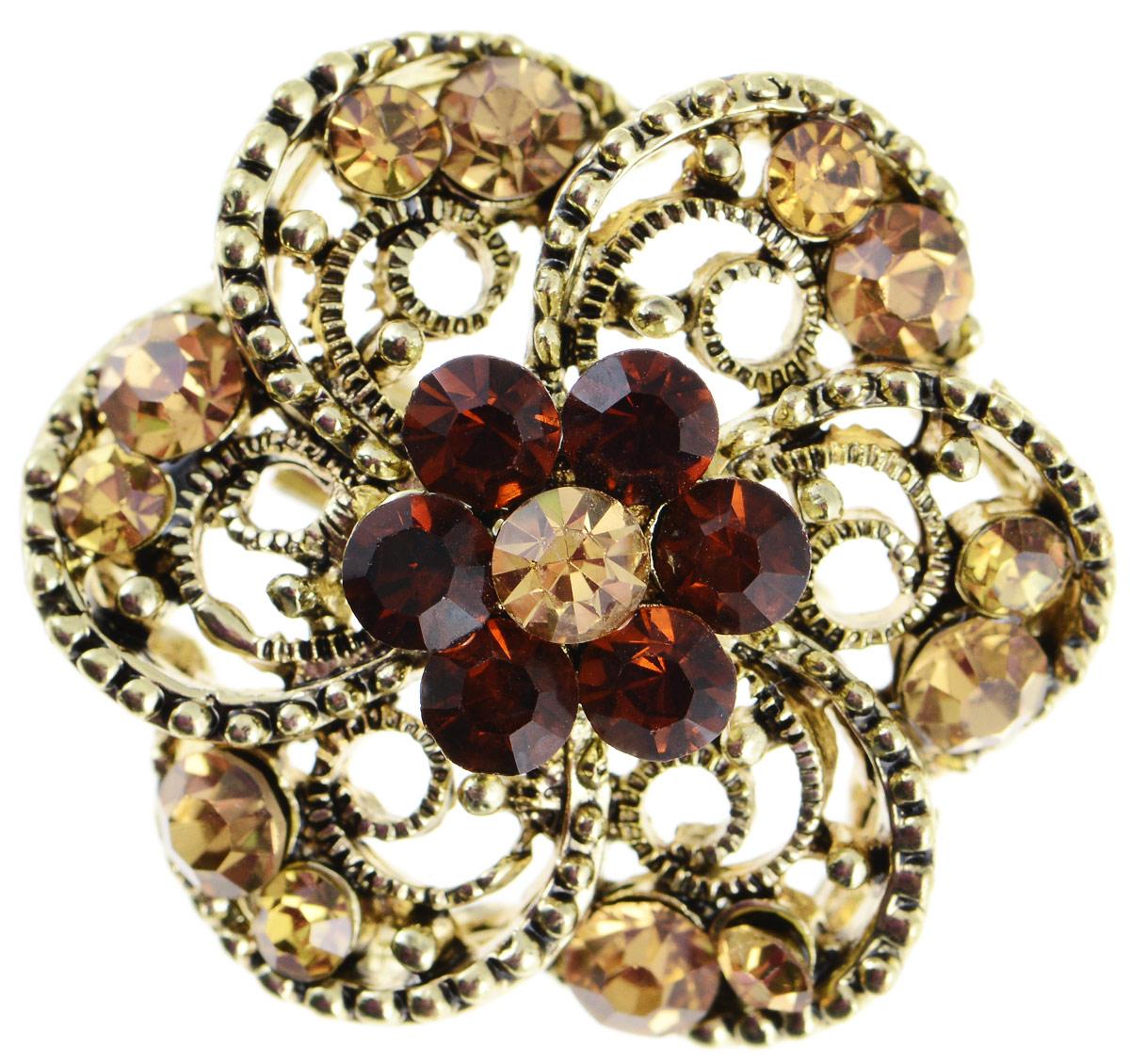 Брошь Vittorio Richi, цвет: золотистый. 9165728vrБрошь-булавкаБрошь Vittorio Richi изготовлена из металла. Декоративный элемент выполнен в виде цветка, оформленного вставками из страз. Изделие застегивается с помощью замка-булавки.