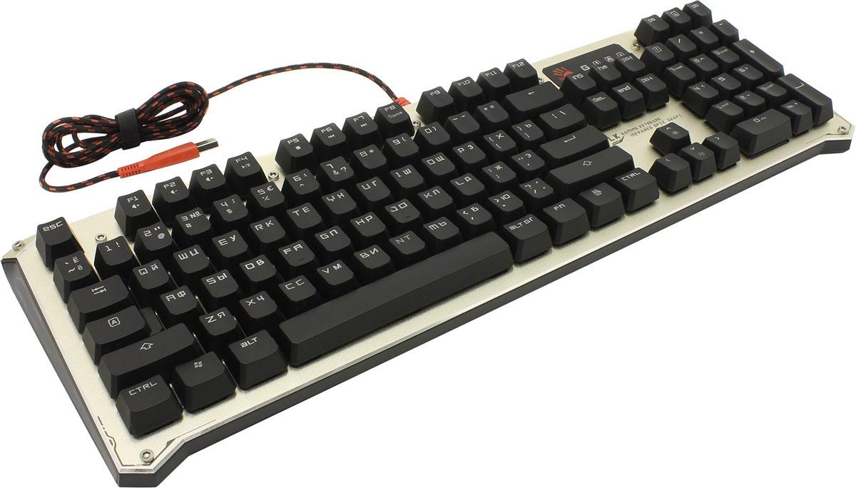 A4Tech Bloody B840, Gold Black игровая клавиатура381459Игровая клавиатура A4Tech Bloody B840 обладает уникальной долговечностью, ультрапрочностью и отсутствием износа, поскольку ресурс нажатий составляет 100 млн. Также модель имеет очень короткий ход срабатывания - 3 мм, у большинства механических клавиатур этот показатель на 25% больше. Кнопки клавиатуры имеют LED-подсветку с возможность регулирования яркости, что обеспечивает идеальную видимость в темноте. Встроенные световые эффекты можно изменять с помощью сочетания клавиш Fn+F12. При использовании механических клавиатур Bloody пользователи смогут по достоинству оценить отсутствие шумов в сигнале и случайных двойных срабатываний. Игровой режим с технологией Anti-Ghosting позволяет одновременно нажимать любое количество клавиш без опасений залипания. При нажатии Fn+F8 в режиме игры деактивируются кнопка Windows для предотвращения случайного вылета из игровой сессии. Игровые клавиатуры данной серии прочны благодаря...