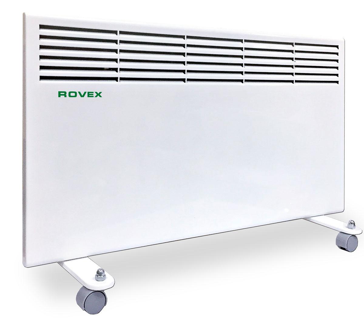 Rovex RHC-1000 конвекторRHC-1000Конвектор Rovex RHC-1000 электрический серии «Omega» представляет собой теплообменник с ТЭНом – электронагревателем, к которому поступает холодный воздух. После происходит процесс нагревания и по стальной трубке выходят теплые потоки воздушных масс. Принцип работы конвектора электрического заключается в безопасном нагревании воздуха, поступающего в прибор посредством конвекции.Конвекторы отопления электрические обладают преимуществами:Высокой производительностью и эффективностью. КПД таких приборов составляет 95%. Конвектор отопления прогревает воздух равномерно и моментально, когда его включили в сеть.Безопасностью. Электрические обогреватели такого типа считаются самыми безопасными. Конвекторная система отопления устроена так, что воздушные массы в теплообменнике постоянно циркулируют и не превышают безопасных 60 °C. Прибор можно использовать даже в детской комнате. А о пожаре и мысль не возникнет! Конвекторный обогреватель автоматически отключается, если его уронить.Малогабаритностью. Устройство может настенным и напольным. В серию Omega входят универсальные приборы, которые возможно разместить и на полу, и на стене.Бесшумной работой, без выделения запахов.Простотой использования. Конвектор электрический с терморегулятором, им можно легко установить нужную температуру.Беспроблемной установкой. Конвектор электрический настенный можно сразу эксплуатировать после покупки.Невысокой стоимостью. Многие решаются купить конвектор еще потому, что радует его цена, по сравнению с котлом или радиатором.