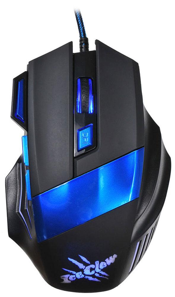 Oklick 775G Ice Claw, Black Blue игровая мышь945847Oklick 775G Ice Claw - это игровая проводная мышь черно-синего цвета с 7-ю кнопками, колесом прокрутки и интерфейсом подключения USB. Модель выделяется эргономичным асимметричным корпусом, идеально сидящим в правой руке. Дополнительный комфорт обеспечивает регулируемая точность сенсора, разрешение которого варьируется до 2400 dpi. Надежный канал связи гарантирует моментальную реакцию на каждое действие, что особо важно для динамичных игр. Боковые клавиши позволяют быстро перемещаться по страницам в браузере, назад и вперед.
