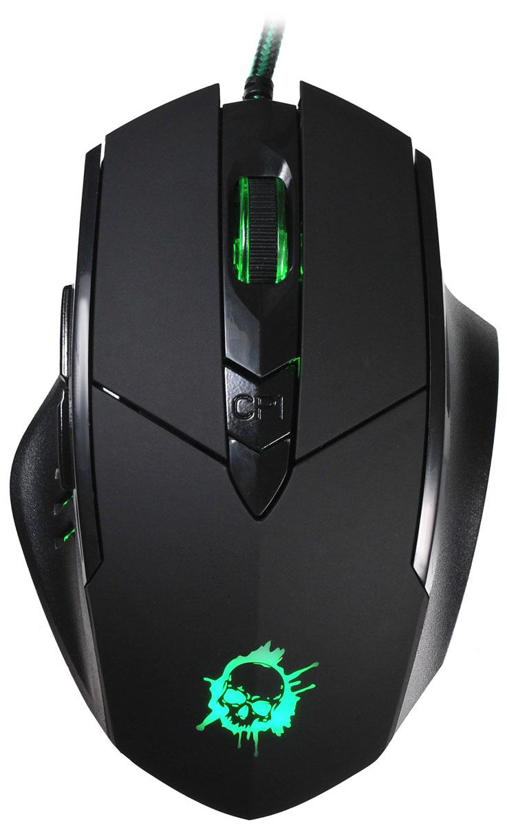 Oklick 815G Inferno, Black игровая мышь351860Oklick 815G Inferno - это игровая проводная мышь черно цвета с 6-ю кнопками, колесом прокрутки и интерфейсом подключения USB. Эргономичный корпус, адаптированный под правую руку, крепко сидит под пальцами и не скользит. Дополнительный комфорт обеспечивает регулируемая точность сенсора, разрешение которого варьируется до 2400 dpi. Надежный канал связи гарантирует моментальную реакцию на каждое действие, что особо важно для динамичных игр. Боковые клавиши позволяют быстро перемещаться по страницам в браузере, назад и вперед.