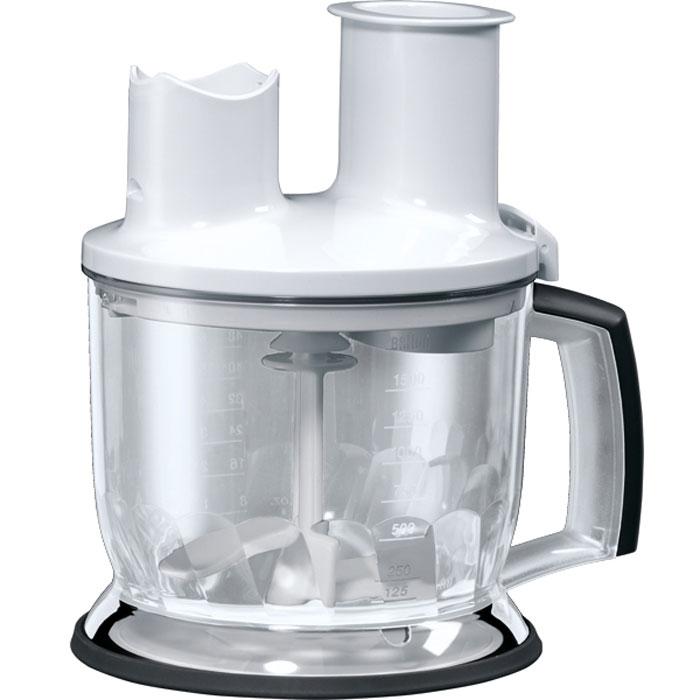 Braun MQ70 Food Processor Att MQ5 Series, White емкость для блендераAX22110005Дополнительный аксессуар все в одном Braun MQ70 Food Processor Att MQ5 Series готов помочь вам справиться с повседневной работой на кухне, сэкономить место и приготовить здоровое питание без особых усилий. Насадка-кухонный комбайн объемом 1,5 л идет в комплекте с 2-мя вставками для терки и шинковки, насадки для нарезки ломтиками. Он совместим со всеми блендерами браун с металлической ногой. Не подходит к блендерам с пластиковой ногой и беспроводным блендерам.