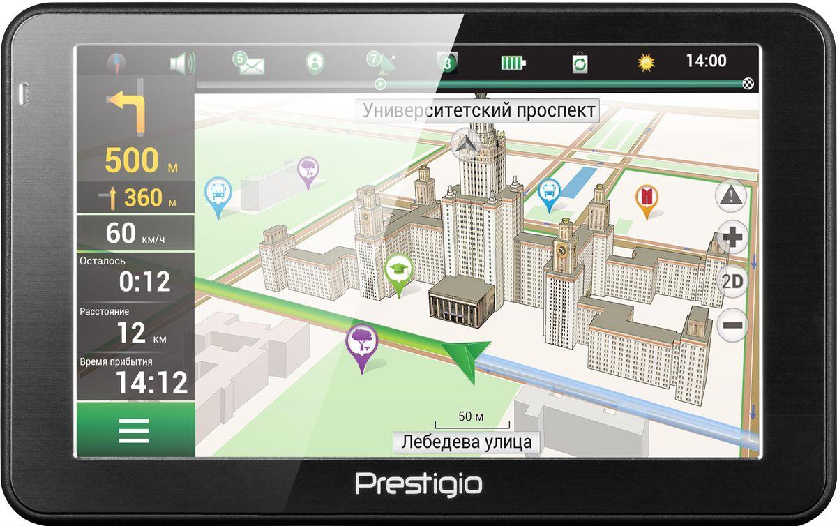 Prestigio GeoVision 5068, Black автомобильный навигаторPGPS5068CIS04GBNVС Prestigio GeoVision 5068 вам не придется идти на компромисс между ценой, функциональностью и стильным видом. Карты Navitel, базы достопримечательностей, 3D-отображение развязок, и подсказки работают отлично благодаря мощному процессору на 800 МГц, в то время как стильный дизайн устройства хорошо впишется в интерьер автомобиля любого класса. Получайте все выгоды 3D-карт и хорошо настроенной навигации от Navitel. Поиск места назначения становится легкой задачей благодаря визуализации вашего окружения на устройстве. Не пропустить нужный поворот вам помогут реалистичные изображения развязок и подсказки по полосам движения. Купив Prestigio Geovision 5068, вы получаете настоящего гида! Миллионы объектов - туристические места, автозаправочные станции, гостиницы и многое другое уже заботливо установлена в вашем новом устройстве. На 5-дюймовом экране (800x480) удобно наблюдать за дорогой и легко вводить адреса. С помощью удобной функции...