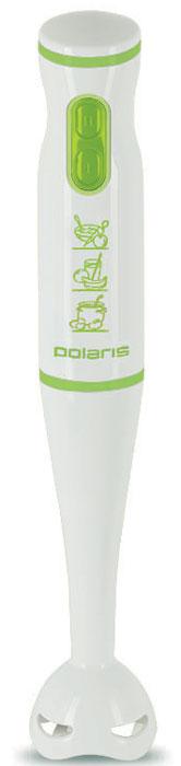 Polaris PHB 0508, White Green, блендерPHB 0508_белый, зеленыйPolaris PHB 0508 несомненно станет незаменимым помощником для любой хозяйки. Он идеален для приготовления молочных коктейлей, супов или пюре. Этот блендер поможет вам упростить приготовление блюд и не разводить беспорядок на кухне. Корпус прибора выполнен из прочного пластика, а насадка изготовлена из качественной нержавеющей стали.