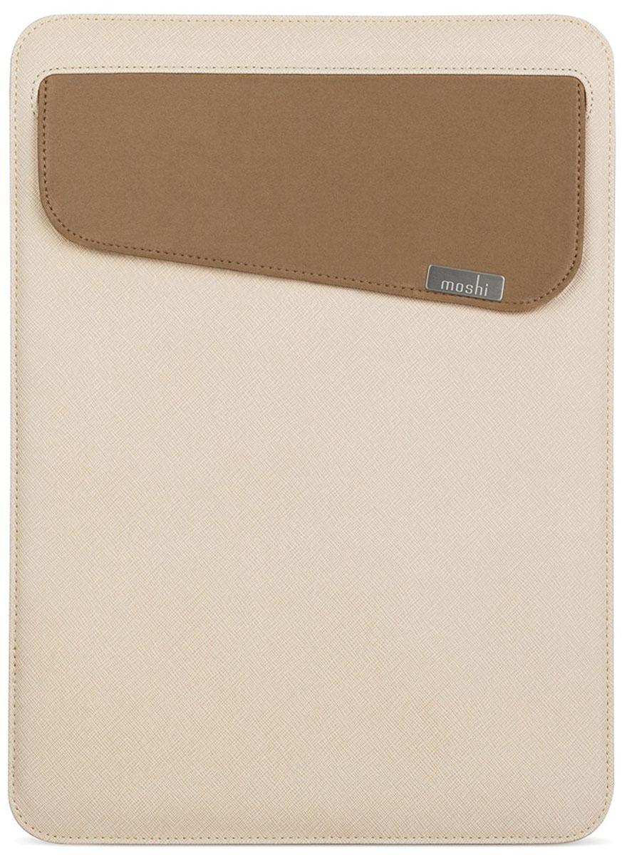 Moshi Muse Slim Fit Carrying Case чехол для Apple MacBook 13, Sahara Biege99MO034715Moshi Muse Slim Fit Carrying Case - чехол, специально созданный для вашего MacBook 13. Это идеальный аксессуар для динамичного образа жизни. Отсутствие молнии позволяет убирать и доставать ваш MacBook, не царапая корпус. Прочная и приятная на ощупь внешняя отделка защищает от мелких царапин и ударов, а мягкое внутреннее покрытие из микрофибры Terahedron удаляет отпечатки пальцев, слегка прижимая ваше устройство. Moshi Muse Slim Fit оснащена системой открытия SlipGrip, которая действует как предохранитель, чтобы предотвратить от случайного падения ваш MacBook, даже когда он перевернут. Данная модель также включает в себя внешний карман для удобного хранения адаптеров и кабелей.
