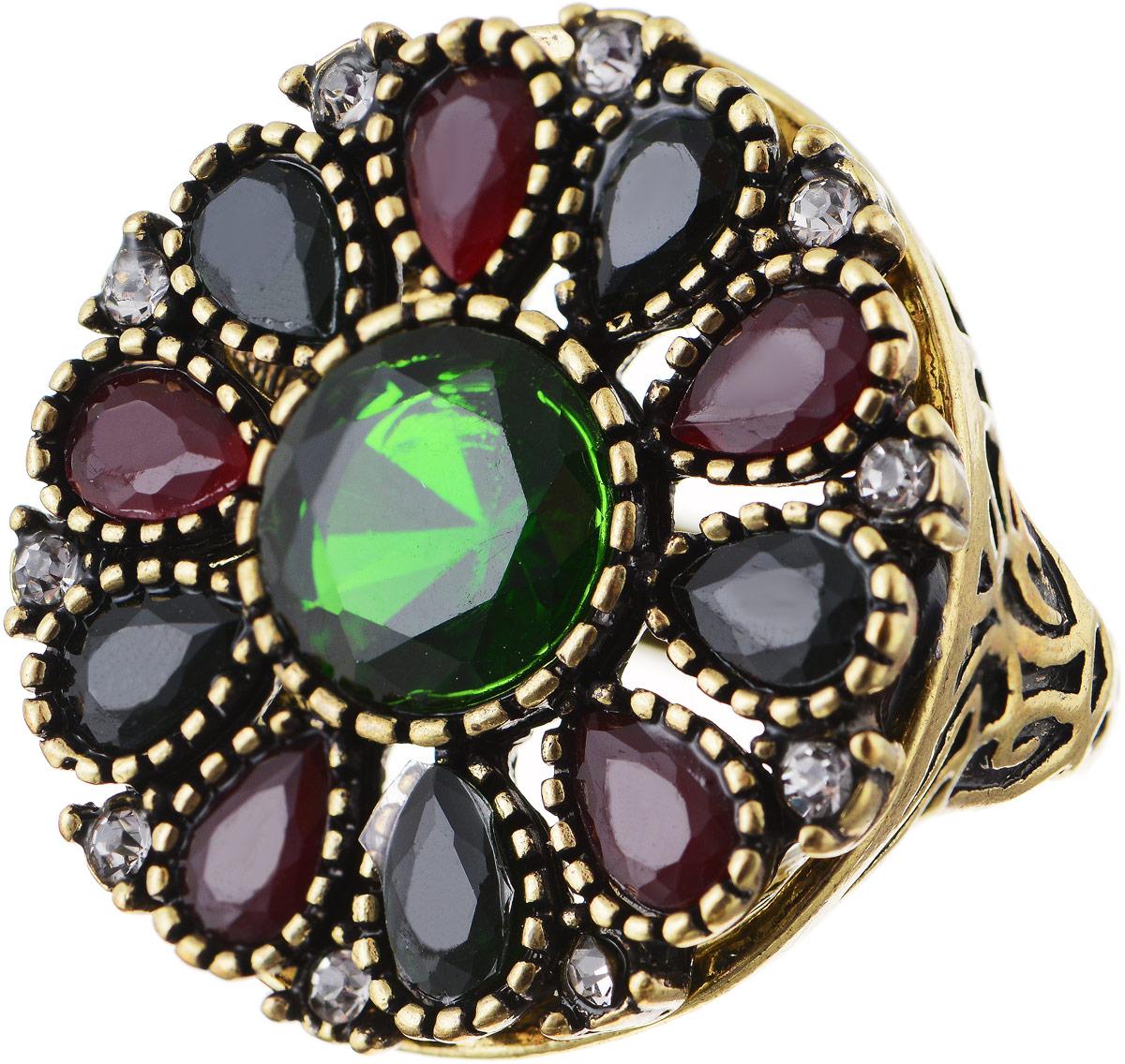 Кольцо Bradex Аннабель, цвет: золотой, зеленый, бордовый. AS 0017. Размер 17AS 0007Кольцо Bradex Аннабель выполнено из металлического сплава. Декоративный элемент выполнен в круглой форме и украшен вставками из искусственных камней и страз.