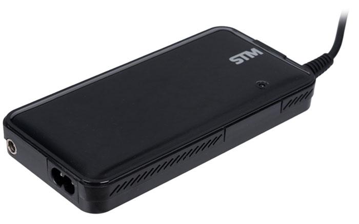 STM DLU90 адаптер питания для ноутбуков (90 Вт)STM DLU90Универсальный сетевой адаптер STM DLU90 мощностью 90 Вт предназначен для заряда аккумулятора ноутбуков от сети переменного тока. Совместим практически со всеми популярными моделями ноутбуков при помощи поставляемых в комплекте 9 сменных коннекторов. Встроенная система управления автоматически подстраивает напряжение питания для конкретной модели при смене коннектора. Функция защиты от перегрузки, короткого замыкания и перезаряда батареи делает использование адаптера абсолютно безопасным для ноутбука. Горящий светодиодный индикатор на корпусе устройства означает включение в сеть и его нормальную работу. Встроенный разъем USB 2A позволит параллельно зарядить ваш планшет или смартфон. При отсутствии необходимого коннектора для вашего ноутбука обращайтесь к производителю STM по вопросам его получения на территории России.