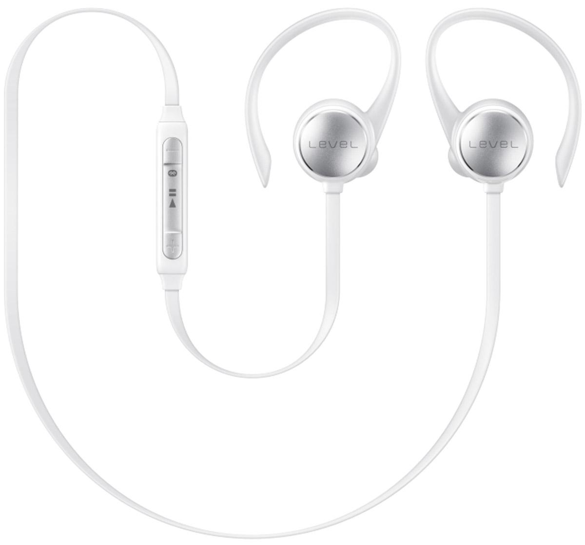 Samsung EO-BG930 Level Active, White наушникиEO-BG930CWEGRUС наушниками Samsung Level Active никакой посторонний шум не помешает слушать музыку. Гарнитура автоматически компенсирует уровень нежелательного шума до -20 дБ. Беспроводная конструкция делает ношение максимально комфортным. Они снабжены гибкими держателями и дужками. В комплект входят ушные вкладыши трех разных размеров. Samsung Level Active обеспечивают качественный звук студийного качества на всем диапазоне частот. Наушники имеют защитное нанопокрытие и подходят для активных людей. Покрытие предохраняет гарнитуру от влаги, обеспечивая комфорт при занятиях спортом. Связь с устройствами происходит при помощи Bluetooth. Так с экрана смартфона можно управлять настройками звука и воспроизведением. Приложение Samsung Level расширяет возможности гарнитуры – позволяет получать уведомления при помощи звуковых и вибрационных сигналов, а также контролировать физическое состояние во время тренировок. Синхронизация со смартфоном и приложениями S Health и секундомером...