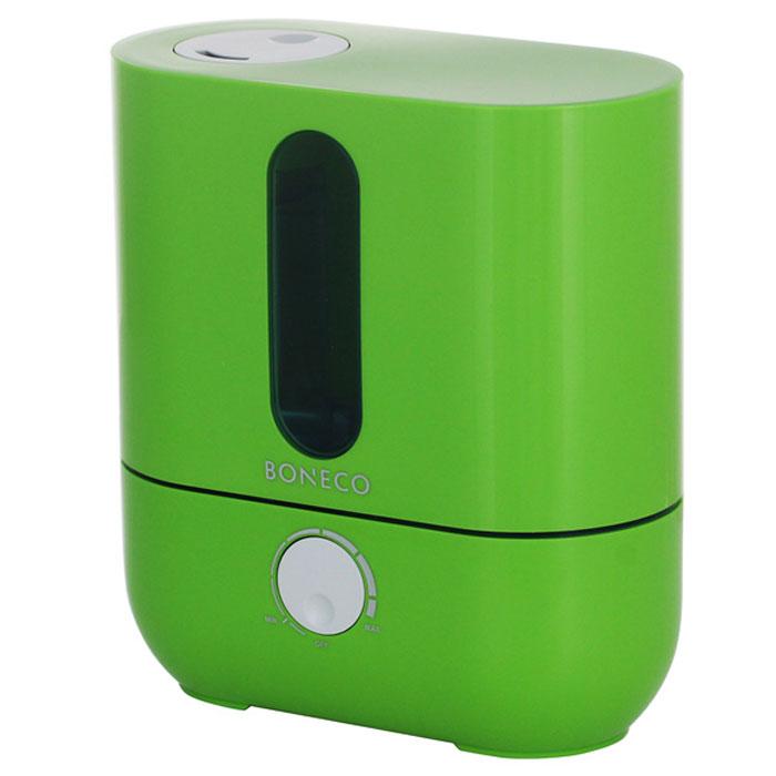 Boneco U201A, Green ультразвуковой увлажнитель воздухаНС-1031209Ультразвуковой увлажнитель воздуха Boneco U201A отличается высокой производительностью увлажнения (300 г/час) при низком потреблении электроэнергии (20 Вт). Модель работает очень тихо даже на максимальной скорости увлажнения, поэтому не потревожит вас во время сна или работы. В Boneco U201A предусмотрена синяя подсветка – ночник (окно резервуара с водой). При необходимости подсветку можно отключить. Элегантный дизайн прибора вместе с подсветкой станет стильным и полезным дополнением к интерьеру. Внутри увлажнителя установлена мембрана, которая после включения прибора начинает вибрировать в ультразвуковом диапазоне частот. В результате колебаний на поверхности воды образуется туман (эмульсия из мелких капель воды и воздуха). Вентилятор, установленный внутри увлажнителя выдувает образовавшееся облако через распылитель в помещение (капли воды имеют сверх малый объем, поэтому они моментально превращаются в пар, и таким образом, насыщают воздух влагой). ...