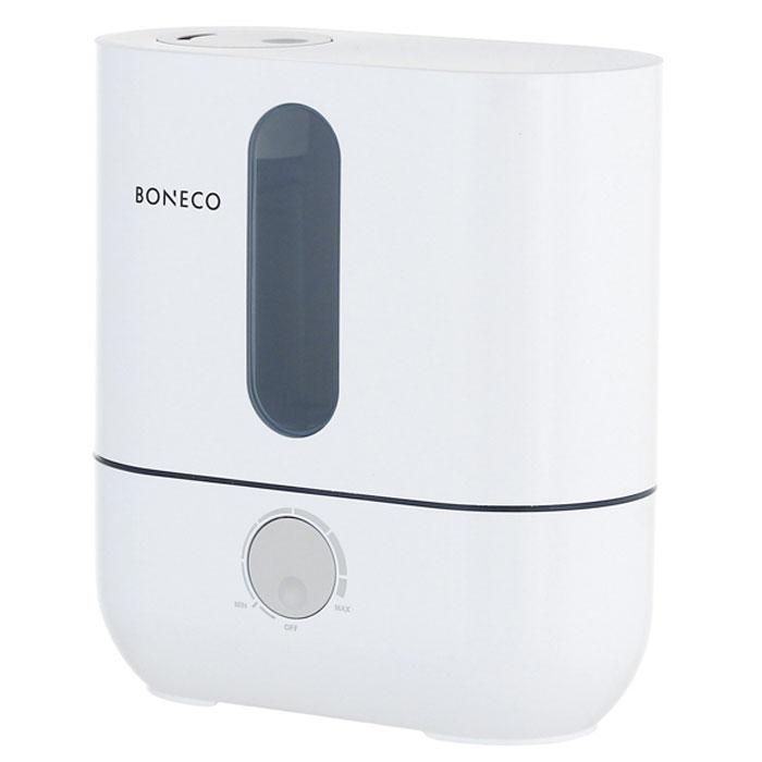 Boneco U201A, White ультразвуковой увлажнитель воздухаНС-1031208Ультразвуковой увлажнитель воздуха Boneco U201A отличается высокой производительностью увлажнения (300 г/час) при низком потреблении электроэнергии (20 Вт). Модель работает очень тихо даже на максимальной скорости увлажнения, поэтому не потревожит вас во время сна или работы. В Boneco U201A предусмотрена синяя подсветка - ночник (окно резервуара с водой). При необходимости подсветку можно отключить. Элегантный дизайн прибора вместе с подсветкой станет стильным и полезным дополнением к интерьеру. Внутри увлажнителя установлена мембрана, которая после включения прибора начинает вибрировать в ультразвуковом диапазоне частот. В результате колебаний на поверхности воды образуется туман (эмульсия из мелких капель воды и воздуха). Вентилятор, установленный внутри увлажнителя выдувает образовавшееся облако через распылитель в помещение (капли воды имеют сверх малый объем, поэтому они моментально превращаются в пар, и таким образом, насыщают воздух влагой). Для...