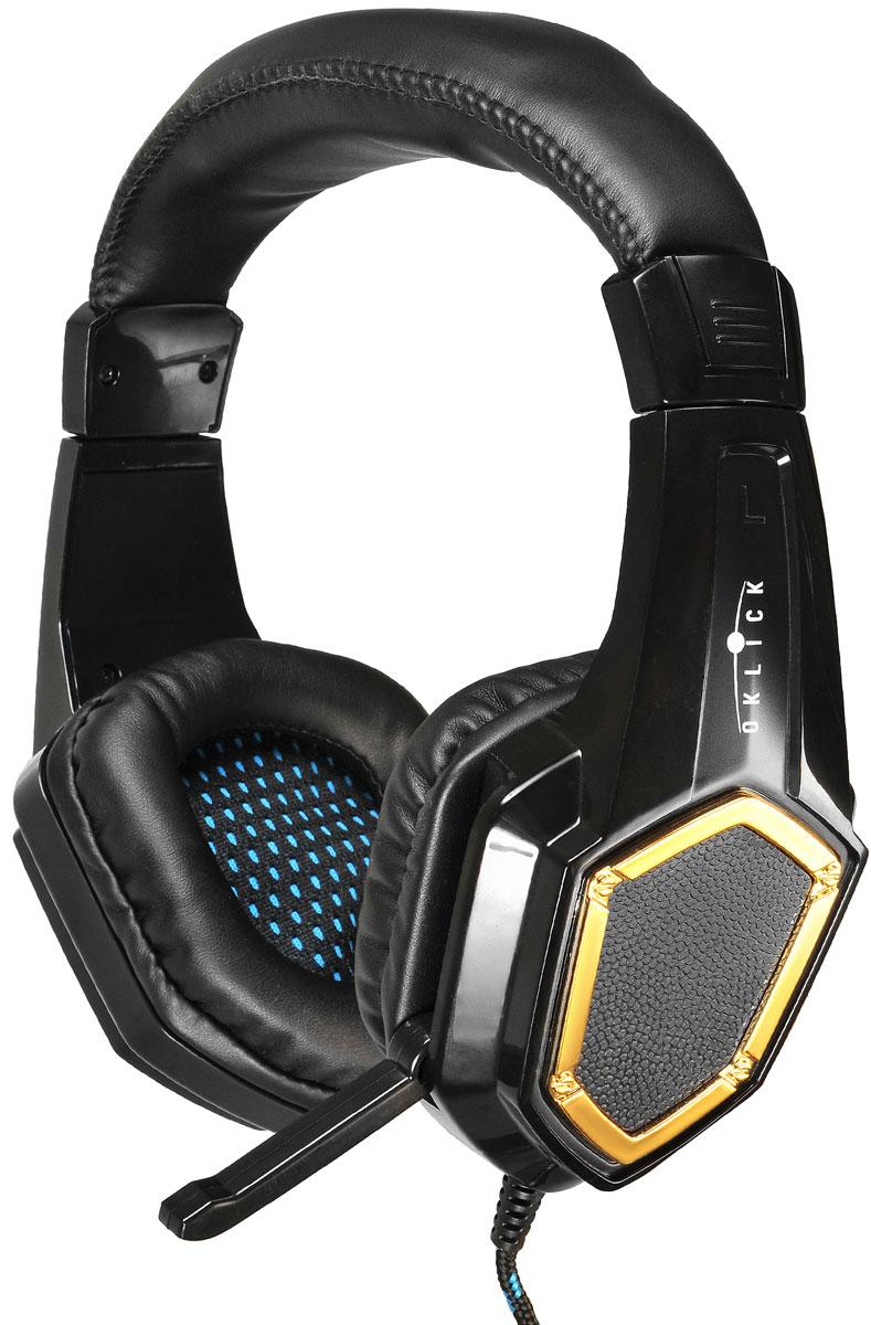 Oklick HS-L310G, Black игровые наушники359483Oklick представляет игровую гарнитуру HS-L310G Guardian. Новинка относится к гарнитурам закрытого типа, обладает встроенным микрофоном, регулируемым изголовьем, мягкими и удобными амбушюрами. Модель выполнена в оригинальном дизайне и обладает всеми возможностями и характеристиками, удовлетворяющими потребности любителей самых разнообразных игровых жанров. Тип направленности микрофона: всенаправленный Сопротивление: 2,2 кОм Чувствительность микрофона: 54 дБ