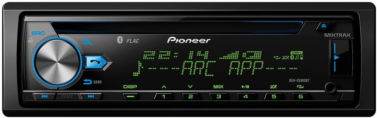 Pioneer DEH-X5900BT автомагнитола1025104Не приходится сомневаться, что Pioneer DEH-X5900BT - по-настоящему высокотехнологичная автомобильная аудиосистема. Она распознает FLAC-файлы, оборудована 13-полосным графическим эквалайзером и встроенным 4 х 50 Вт усилителем MOSFET. Благодаря опции Time Alignment, вы можете наслаждаться максимально высоким качеством звука, в каком бы автомобиле этот тюнер ни был установлен. CD-тюнер DEH-X5900BT полностью совместим со Spotify, как с бесплатными, так с Premium-аккаунтами. Просто подключите ваш смартфон с Apple iOS или Android и смело запускайте свои любимые плей-листы, альбомы, треки и исполнителей через DEH-X5900BT. Наличие Bluetooth обеспечивает возможность безопасно и удобно совершать звонки с помощью системы hands- free, а также беспроводного стриминга музыки с вашего смартфона. Благодаря уникальной технологии Pioneer Advanced Sound Retriever, качество звука будет максимально приближено к оригиналу. Вы можете даже подключить через Bluetooth два...