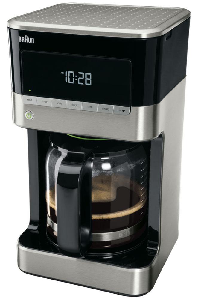 Braun KF 7120 капельная кофеваркаKF7120Капельная кофеварка Braun KF 7120 имеет эксклюзивный дизайн и множество программируемых функций для максимально бодрого начала дня.Технология OptiBrewSystem позволяет оптимизировать температуру, время заваривания и экстракцию молотого кофе, что дает идеально сбалансированный вкус.Основные параметры можно выбрать одним касанием кнопки. Вся необходимая информация отображается на удобном LCD-дисплее.Наслаждайтесь кофе идеального вкуса независимо от того, сколько чашек вы готовите, без ущерба для аромата и вкуса.