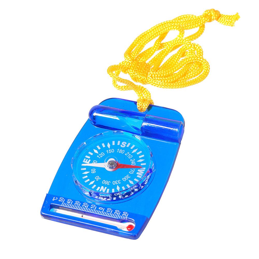 Компас Veber, цвет: синий, DC35-211141Компас со встроенным свистком и термометром, на шнурке. ОПИСАНИЕ Компас состоит из пластмассового планшета со встроенным свистком и термометром, на планшете неподвижно закреплена круглая капсула. Внутри капсулы находится магнитная стрелка, на дне капсулы находится шкала азимута и индексы N, S, E, W (N-север, S-юг, E-восток, W-запад) Характеристики Цена деления шкалы азимута 10° Длительность успокоения магнитной стрелки не более 5 с. Диапазон рабочих температур от -20С до + 30С Материал корпуса пластик Габаритные размеры 47х67х9 мм Вес 25 г