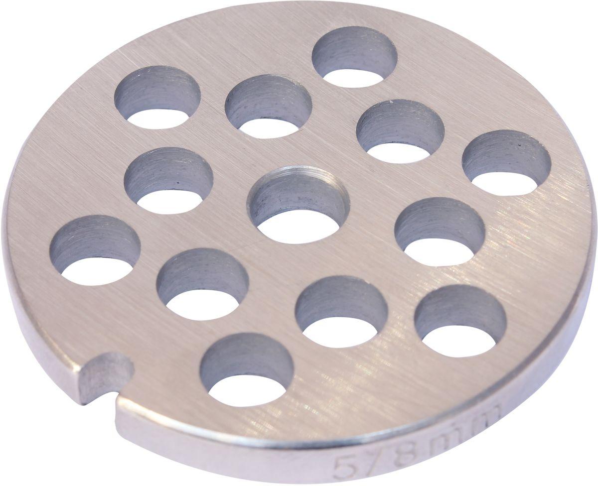 Euro Kitchen EUR-GR-8 Braun решетка для мясорубкиEUR-GR-8 BraunРешетка Euro Kitchen EUR-GR-8 предназначена для работы с электрическими мясорубками марки Braun. Она с легкостью заменит фирменную деталь, не уступив ей по качеству и сроку службы. Высокая производительность и долгий срок службы современных электрических и ручных мясорубок зависят, в первую очередь, от режущих механизмов и их выработки. Своевременная профилактика и замена режущих и вспомогательных элементов способствуют уменьшению нагрузки на узлы и другие механизмы, гарантируя долгую и качественную работу вашей мясорубки. Диаметр отверстий в решетке: 8 мм. Диаметр решетки: 5,2 см. Диаметр входного отверстия в шнек: 0,9 мм. Ширина решетки: 0,5 мм.