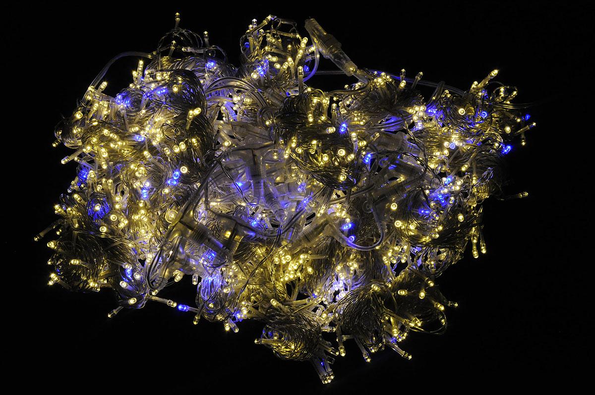 Электрогирлянда B&H Световой занавес, 1250 светодиодов, 2,4 мBH0116-WWBЭлектрогирлянда B&H Световой занавес предназначена для декора окон, витрин, стен и потолочных проемов. Изделие представляет собой провода, на которых расположено 1000 светодиодов с теплым белым свечением и 250 мигающих светодиодов с синим свечением. Гирлянды B&H Световой занавес можно соединить между собой (до 5 гирлянд). Количество нитей: 25. Длина шнура питания: 3 м. Длина гирлянды: 2,4 м. Расстояние между нитями: 10 см. Длина нитей: 6 м. Максимальная длина при соединения гирлянд: 12 м. Количество диодов: 1000 теплых белых, 250 синих мигающих.