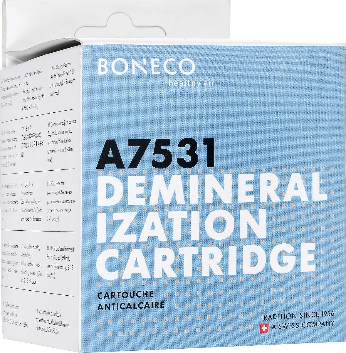 Boneco 7531 фильтр-картридж AG+НС-0070591Сменный AG+ картридж 7531 представляет собой фильтр-картридж для очистки воды, используемой в ультразвуковых увлажнителях воздуха. Фильтр-картридж эффективно очищает жидкость от различных примесей. Этот элемент играет важную роль в работе ультразвукового увлажнителя, поскольку препятствует возникновению так называемого белого налета, который представляет собой не что иное как соли и другие вещества, растворенные в жесткой воде. Как известно, ультразвуковой увлажнитель распыляет воду со всем содержимым, соответственно, капли водяной пыли оседают на поверхностях, влага испаряется, а растворенные минеральные соли остаются. Поэтому при использовании жесткой воды (воды из-под крана), возможно появление белого налета (минеральных солей, содержащихся в жесткой воде), который выглядит как пыль. AG+ картридж 7531 эффективно очищает испаряемую воду от минеральных солей, ржавчины, остатков извести и других веществ. Значительное продление срока службы картриджа достигается благодаря его объему, содержащему в 2 раза больше наполнителя (ионообменной смолы).Срок эксплуатации фильтра-картриджа составляет в среднем 3 месяца, в зависимости от степени загрязненности и жесткости воды. Для снижения эксплуатационных расходов предлагается экономный способ замены фильтрующего элемента — есть возможность не покупать новый картридж, а заменить только ионообменную смолу.