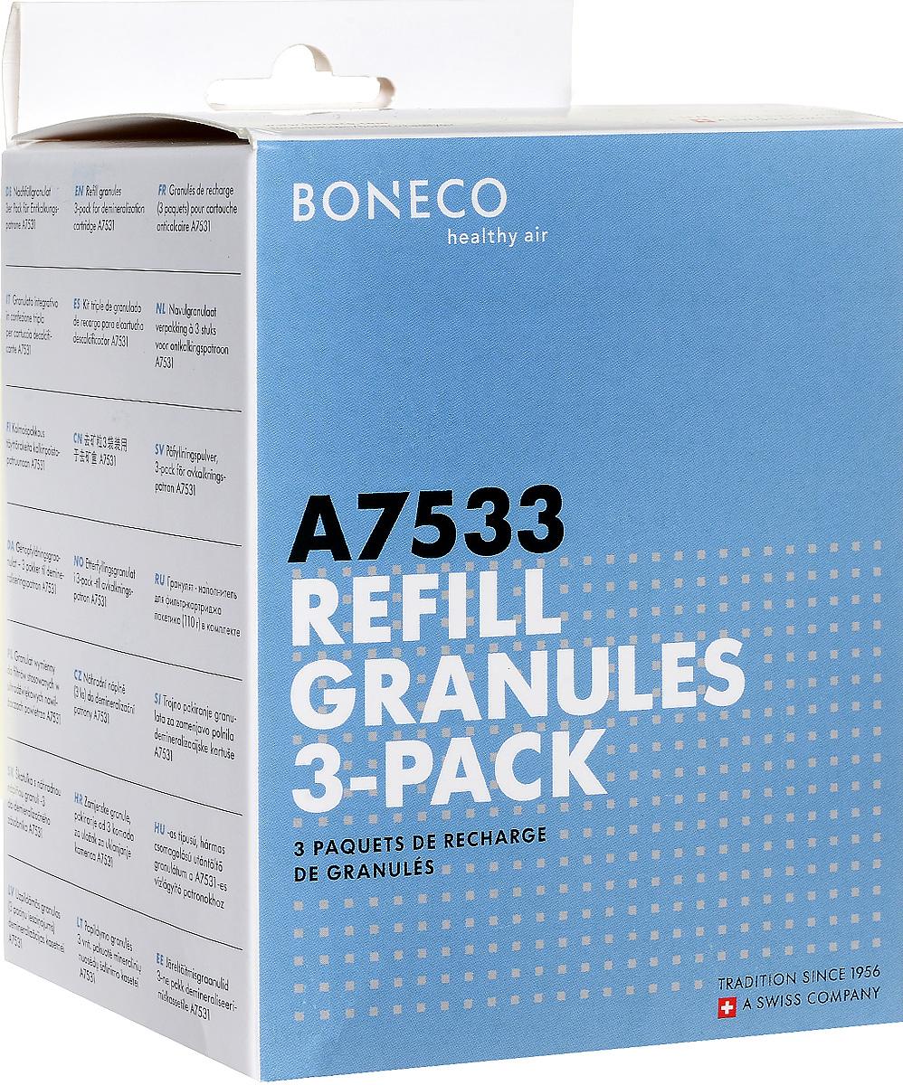 Boneco 7533 наполнитель картриджа ИОСНС-0070596Boneco 7533 - гранулят (наполнитель) для фильтра-картриджа AG+. Применяется для наполнения фильтра-картриджа – важного элемента ультразвуковых увлажнителей. Наполнитель представляет собой ионообменную смолу, состоящую из маленьких (меньше миллиметра в диаметре) шариков, изготовленных из специальных полимерных материалов, именуемых для простоты «смолой». Шарики смолы способны улавливать из воды ионы различных веществ и «впитывать» их в себя. В результате такого обмена ионами вода очищается от солей и других примесей.Использование ионообменной смолы предохраняет предметы интерьера от образования на них белого налета, который представляет собой не что иное, как солевые образования, появляющиеся в результате испарения воды. Как известно, ультразвуковой увлажнитель распыляет воду со всем содержимым, соответственно, капли водяной пыли оседают на поверхностях, влага испаряется, а растворенные минеральные соли остаются. Поэтому при использовании жесткой воды (воды из-под крана), возможно появление белого налета (минеральных солей, содержащихся в жесткой воде), который на поверхности предметов выглядит как пыль.На одно наполнение фильтра-картриджа необходим 1 пакетик гранулята (110 г). В комплект входят 3 шт.