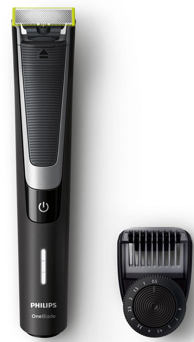 Philips OneBlade Pro QP6510/20 с 12 установками длиныQP6510/20Philips OneBlade Pro - это новый революционный гибридный стайлер для подравнивания, создания четких контуров и бритья щетины любой длины. Забудьте об использовании множества устройств в несколько этапов. Philips OneBlade Pro - это революционная электрическая технология, созданная для мужчин, которые носят щетину или бороду. OneBlade подравнивает, делает контуры и бреет щетину любой длины. Уникальная технология OneBlade состоит из быстро двигающегося режущего блока, который совершает 200 движений в секунду, и системы двойной защиты. Они обеспечивают эффективное и комфортное бритье даже самой длинной щетины. OneBlade сбривает щетину не слишком близко к коже для комфортных ощущений от бритья. Подравнивайте бороду до точной равномерной длины с помощью прилагаемого регулируемого гребня. Выберите одну из 12 фиксируемых установок длины и создавайте любой понравившийся образ: от эффекта легкой небритости до более небрежного стиля и длинной бороды. ...