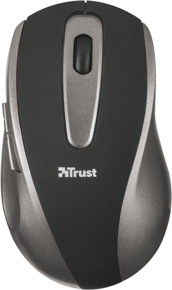 Trust EasyClick Wireless Mouse, Silver Black мышь16536Пятикнопочная беспроводная оптическая мышь Trust EasyClick с использованием новейшей оптической технологии, обеспечивающей чувствительность 1000 точек на дюйм. Беспроводная связь в диапазоне 2,4 ГГц обеспечивает плавную и быструю реакцию мыши на расстоянии до 8 метров. Благодаря новейшей технологии энергосбережения мышь работает намного дольше.