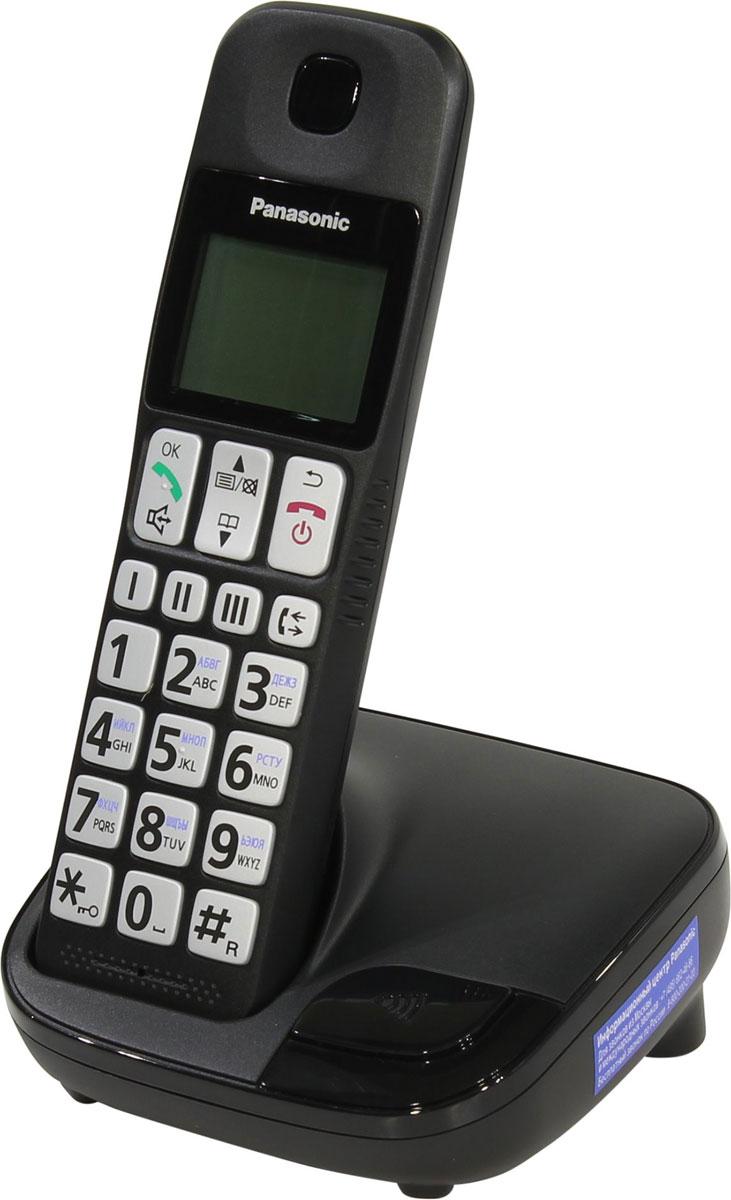 Panasonic KX-TGE110RUB DECT-телефонKX-TGE110RUBDECT-телефон Panasonic KX-TGE110RUB подходит для профессионального применения благодаря наличию встроенного спикерфона, позволяющего принимать участие в беседе нескольким людям, а также за счёт возможности подключения нескольких трубок к одной базе. Удобно набирать номер Клавиатура с большими кнопками с подсветкой и крупными символами, которые легко рассмотреть и нажать. Кроме того, раскладка клавиатуры проста и понятна, так что даже пожилые люди смогут комфортно ее использовать. Легкий доступ к номерам, на которые вы часто звоните Благодаря быстрому набору вы можете легко и просто набрать номер. Эту функцию удобно использовать для сохранения номеров мобильных телефонов членов семьи на случай экстренной необходимости или для номеров друзей, с которыми вы часто общаетесь. Легко регулировать громкость звонка Используя кнопки регулировки громкости и кнопку Усиление на боковой части трубки, вы можете легко контролировать громкость...