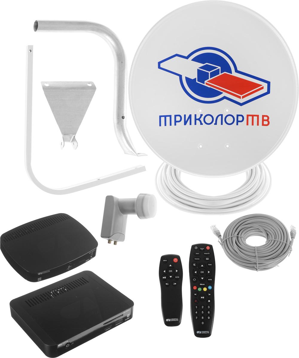 Триколор Сибирь Full HD GS E501 + GS C5911 комплект спутникового телевиденияKTR_E501/C5911_SКомплект цифрового спутникового телевидения Триколор Сибирь Full HD предназначен для подключения двух телевизоров. Основной ресивер GS E501 оснащен двумя тюнерами DVB-S2, с помощью которых осуществляется прием спутникового телевидения в диапазоне 950 - 2150 МГц. Дополнительный ресивер GS C5911 подключается по сети Ethernet, поэтому прокладка антенного кабеля не требуется. Таким образом, используя основной и дополнительный приёмники, можно подключить два телевизора, приобретая один комплект спутникового ТВ. Уважаемые клиенты! Обращаем ваше внимание, что с 01.02.2017 г, все комплекты спутникового телевидения Триколор ТВ, будут комплектоваться скретч-картами включающими в себя недельный тариф на просмотр пакета «Единый».