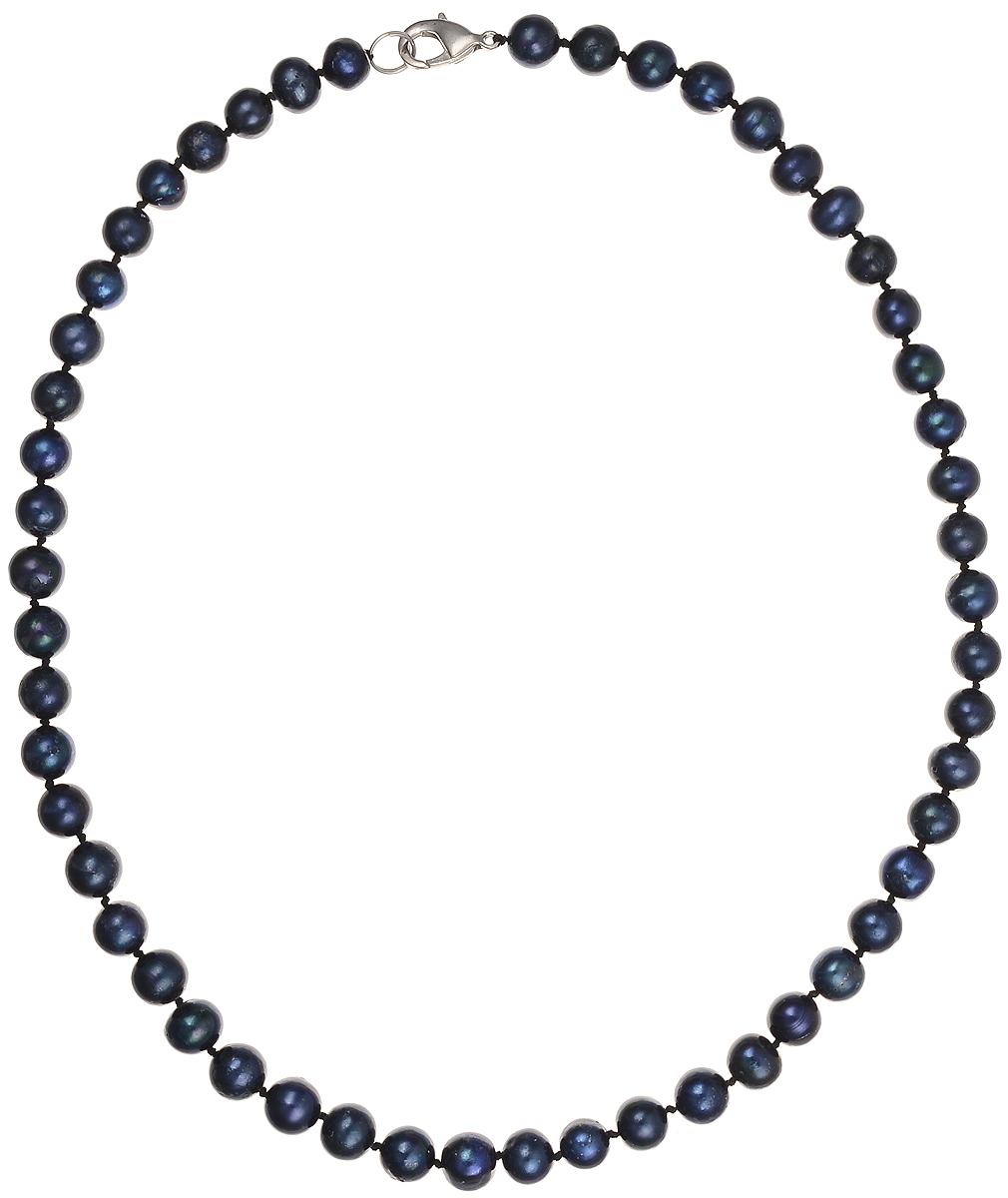 Бусы Art-Silver, цвет: синий, длина 45 см. КЖ8-9А45-378Колье (короткие одноярусные бусы)Бусы Art-Silver подчеркнут изящество и непревзойденный вкус своей обладательницы. Они выполнены из бижутерного сплава и культивированного жемчуга диаметром 8 мм.Изделие оснащено удобным замком-карабином.Культивированный жемчуг - это практичный аналог природного жемчуга. Бусинки из прессованных раковин помещаются внутрь устрицы и возвращаются в воду. Когда бусины покрываются перламутром, их извлекают из моллюска. Форма жемчужины получается идеально ровной с приятным матовым блеском.