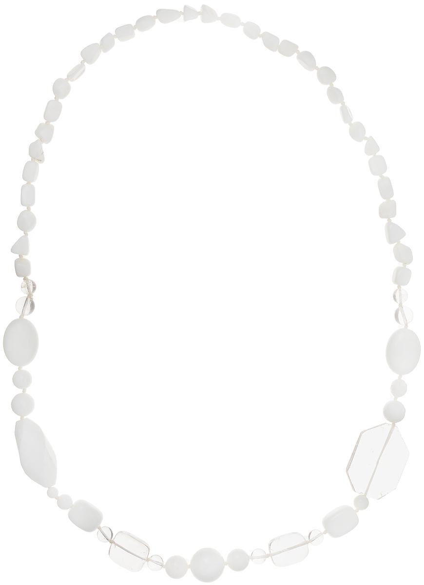 Бусы Art-Silver, цвет: белый, прозрачный, длина 75 см. A-03-837