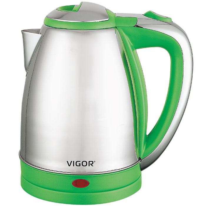 Vigor HX-2027 чайник электрическийHX-2027Современный классический чайник Vigor HX-2027 прост в управлении и долговечен в использовании. Изготовлен из высококачественных материалов. Беспроводное соединение позволяет вращать чайник на подставке на 360°. Для обеспечения безопасности при повседневном использовании предусмотрены функция автовыключения, а также защита от включения при отсутствии воды.