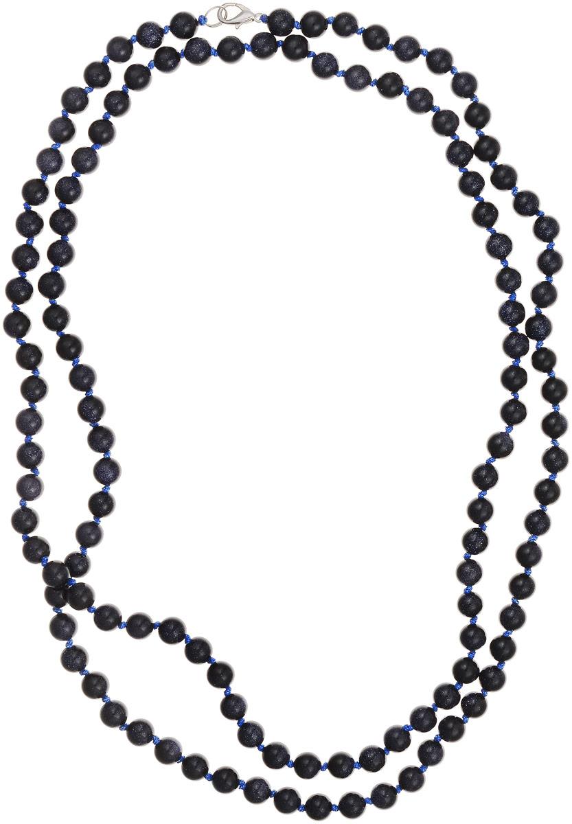 Бусы Art-Silver, цвет: темно-синий, длина 120 см. Ав8-120-571Ав8-120-571Бусы Art-Silver выполнены из авантюрина, нанизанного на текстильную нить. Украшение застегивается на практичный карабин из бижутерного сплава. Бусины диаметром 6 мм имеют характерный для натурального авантюрина блеск, напоминающий множество блесток, заключенных внутри камня, благодаря чему такие бусы красиво играют на свету. Нить окрашена в синий цвет, что подчеркивает оригинальные переливы бусин.