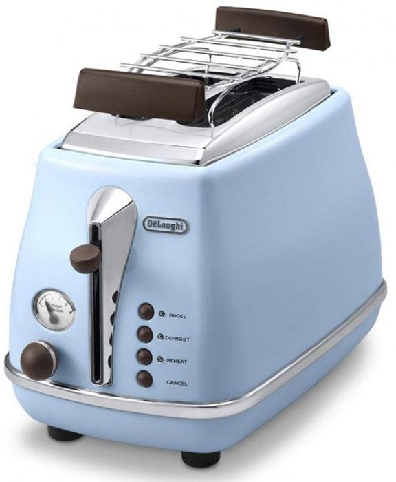 DeLonghi CTOV 2103, Blue тостерCTOV2103.AZЛаконичный тостер DeLonghi CTOV 2103 оснащен удобным кнопочным управлением и регулятором степени прожарки тостов. Решетка из нержавеющей стали предназначена для подогрева булочек и круассанов. Ножки тостера имеют специальное нескользящее покрытие, благодаря им прибор устойчиво располагается на рабочей поверхности. Готовые тосты высоко поднимаются над нагретой поверхностью прибора, это исключает вероятность ожогов и повышает безопасность эксплуатации.