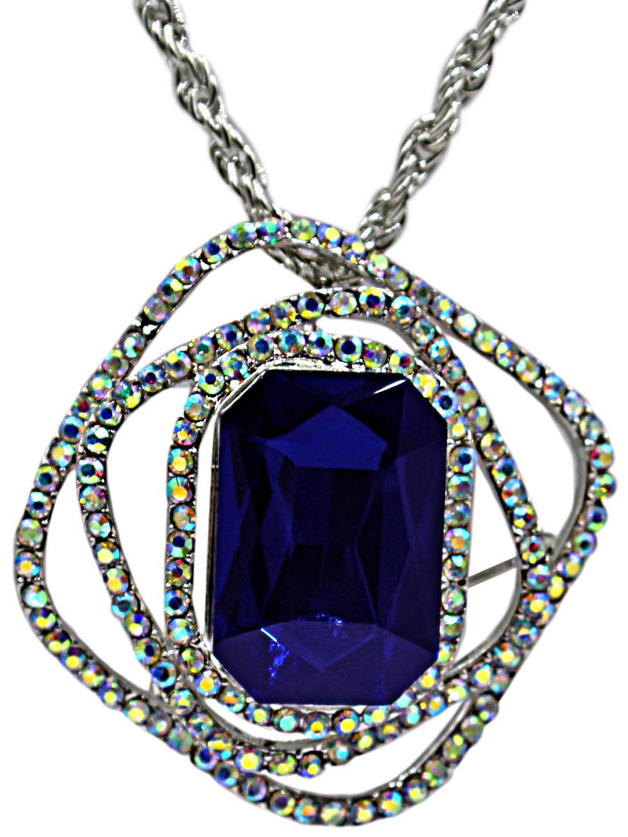 Брошь-кулон с цепочкой Taya, цвет: серебристый, темно-синий. T-B-10892-NECK-SL.D.BLUET-B-10892-NECK-SL.D.BLUEБрошь-кулон на цепочке с удлинением изготовлен из бижутерного сплава. В центре кулона крупный идеально ограненный ультрамариновый кристалл. Вокруг него нагромождение геометрических фигур с блестящими стразами.