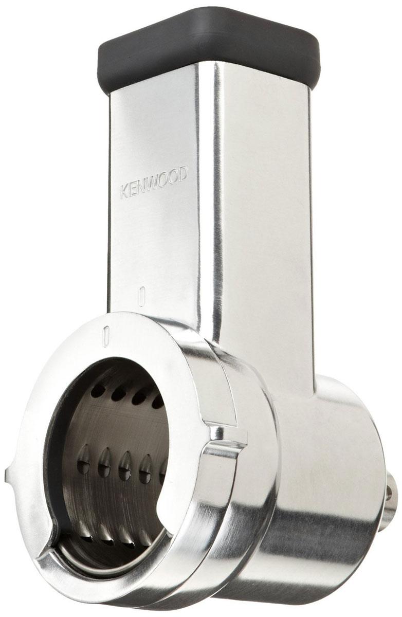 Kenwood AWAT643B01 насадка-теркаAWAT643B01Насадка Kenwood AWAT643B01 позволяет быстро нарезать и натереть овощи, сыры, орехи, шоколад и другие продукты. Насадка низкоскоростная представляет собой корпус из высокопрочного металла и комплект из 5 барабанов. Каждый барабан выполняет строго обозначенную операцию: для тонкого натирания, грубого натирания, тонкой шинковки, грубой шинковки, натирания крошками.