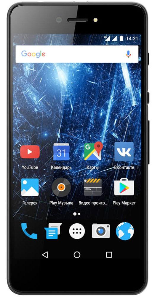 Highscreen Razar, Black23834Highscreen Razar — компактный смартфон с прекрасной селфи-камерой. В борьбе за технические характеристики многие производители забывают уделить внимание дизайну. Highscreen считает дизайн одним из главных преимуществ, ведь испытывать приятные эмоции от взаимодействия со своим смартфоном - это прекрасно. Продуманная эргономика, мягкие изгибы корпуса и минимальная толщина 7.6 мм - все это Razar. Сдвиньте вниз специальную кнопку HiSlide, и камера запустится. В одно движение переключайтесь между основной и фронтальной камерами, а чтобы сделать фото просто нажмите кнопку громкости вниз. Эта функция незаменима при съемке селфи или в холодное время года, когда так не хочется снимать перчатки. Широкоугольная 5 Мпикс фронтальная камера Highscreen Razar позволяет захватить как можно больше объектов в кадре, а встроенная технология улучшения изображения поможет скрыть недостатки или изменять цвет в реальном времени. Основная камера на 8...