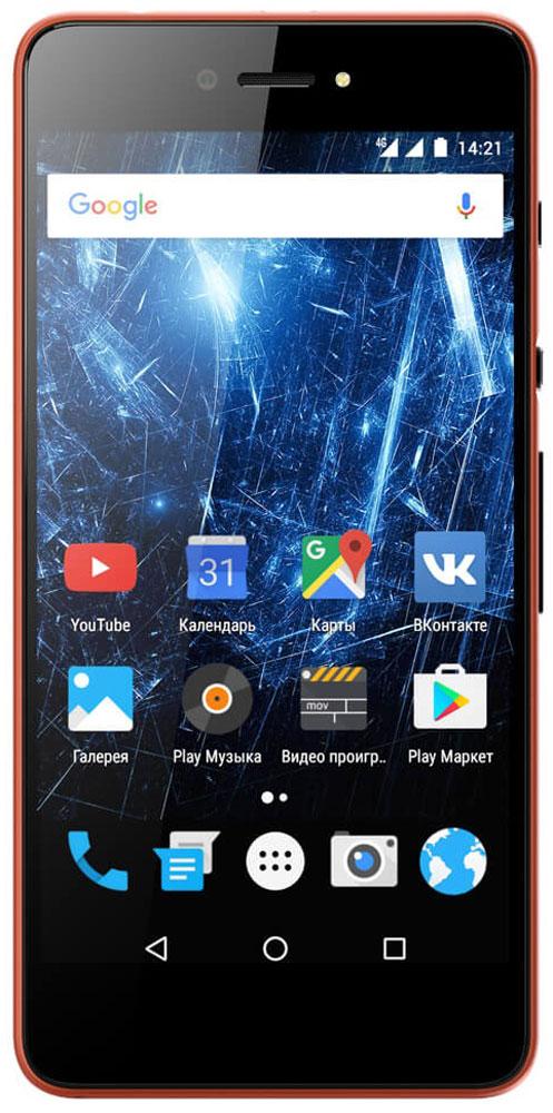 Highscreen Razar, Red Orange23845Highscreen Razar - компактный смартфон с прекрасной селфи-камерой. В борьбе за технические характеристики многие производители забывают уделить внимание дизайну. Highscreen считает дизайн одним из главных преимуществ, ведь испытывать приятные эмоции от взаимодействия со своим смартфоном - это прекрасно. Продуманная эргономика, мягкие изгибы корпуса и минимальная толщина 7.6 мм - все это Razar. Сдвиньте вниз специальную кнопку HiSlide, и камера запустится. В одно движение переключайтесь между основной и фронтальной камерами, а чтобы сделать фото просто нажмите кнопку громкости вниз. Эта функция незаменима при съемке селфи или в холодное время года, когда так не хочется снимать перчатки. Широкоугольная 5 Мпикс фронтальная камера Highscreen Razar позволяет захватить как можно больше объектов в кадре, а встроенная технология улучшения изображения поможет скрыть недостатки или изменять цвет в реальном времени. Основная камера на 8...