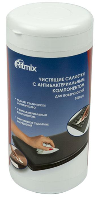 Ritmix RC-100TPA средство для ухода за электроникойRC-100TPAСалфетки Ritmix RC-100TPA предназначены для очистки пластиковых, ламинированных поверхностей компьютеров, аудио-, видео- и бытовой техники, мебели и любых других поверхностей. Способ применения: Открыть клапан. Достать салфетку. Плотно закрыть клапан (во избежание высыхания тщательно закрывайте клапан упаковки). Обработать поверхность. Условия хранения: Вскрытую упаковку плотно закрывать. Вскрытую упаковку использовать в течение 4-х месяцев. Хранить вдали от источников тепла и не подвергать воздействию прямых солнечных лучей. Хранить в недоступном для детей месте. Хранить в отапливаемых помещениях при температуре от 0 до +25 градусов по Цельсию.