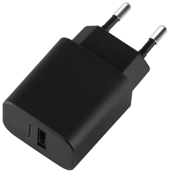 Deppa Ultra USB A + USB Type-C, Black сетевое зарядное устройство11377