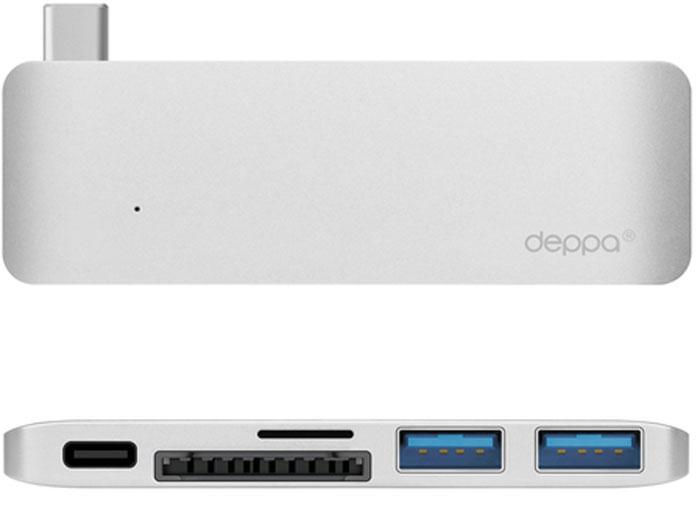 Deppa Ultra book USB Type C, Silver адаптер для Macbook72218Одновременное подключение к MacBook нескольких устройств с разъемами USB-A, USB-C и карт памяти формата SD/microSD.