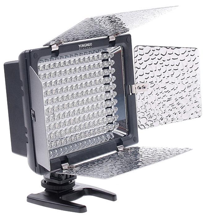 YongNuo YN-160II осветитель светодиодный для фото и видеокамер с ду и микрофономYN-160IIYongNuo YN-160II - это универсальный накамерный свет, который обеспечивает высокое качество освещения. Более того, это первый в мире накамерный свет со встроенным микрофоном, который обеспечивает широкий диапазон чувствительности частот и высокую чувствительность, что позволяет записывать кристально чистый стереозвук с прекрасным звучанием. Также YongNuo YN-160II является первым накамерным светодиодным осветителем, который оснащен фотометрической системой, обеспечивающей автоматическую регулировку яркости, что позволяет значительно сэкономить энергию. Кроме того, вы сможете самостоятельно регулировать цветовую температуру освещения, выбирая таким образом подходящие эффекты. Крепление к камере осуществляется с помощью популярного крепления типа башмак. Максимальная яркость, которую выдает YongNuo YN-160II составляет 2180 люмен. Питание происходит от шести обычных АА батареек (продаются отдельно).