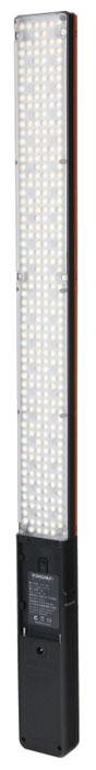 YongNuo YN360 осветитель светодиодный для фото и видеокамерYN360Вытянутый осветитель YongNuo YN360 с большим количеством светодиодов и разной цветовой температурой. Яркость диодов плавно регулируется при помощи диммера на ручке устройства. Также снизу ручки имеется стандартное резьбовое отверстие 1/4. Помимо прочего настройками осветителя можно управлять дистанционно через приложение на смартфоне. Осветитель YongNuo YN360 имеет вытянутую форму, что поможет создать эффектные блики в глазах модели. На конце имеется удобная ручка. Диоды меняют цвет с насыщенного красного на синий и зеленый. Баланс между группами диодов можно тонко регулировать, получая нужную цветовую температуру. Управление устройством по Bluetooth с приложения на смартфоне. Питание осуществляется от батарей типа Sony NP-F. Аккумулятора NP- F770 хватает на 2 часа работы LED диодов и 4 часа SMD диодов на полной мощности.