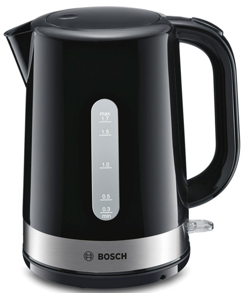 Bosch TWK7403 чайникTWK7403Электрический чайник Bosch TWK7403 для быстрого и экономичного кипячения воды. Изготовлен из высококачественных материалов. Уникальная модель кипятит воду объемом от 1 чашки (300 мл) до 1,7 литра. Прозрачное окошко позволяет определить уровень воды. Беспроводное соединение обеспечивает вращение чайника на подставке на 360°. Для безопасности при повседневном использовании предусмотрена тройная безопасность: автоматическое отключение, защита от перегрева и отключение при отсутствии воды, автоматическое отключение при снятии с цоколя.
