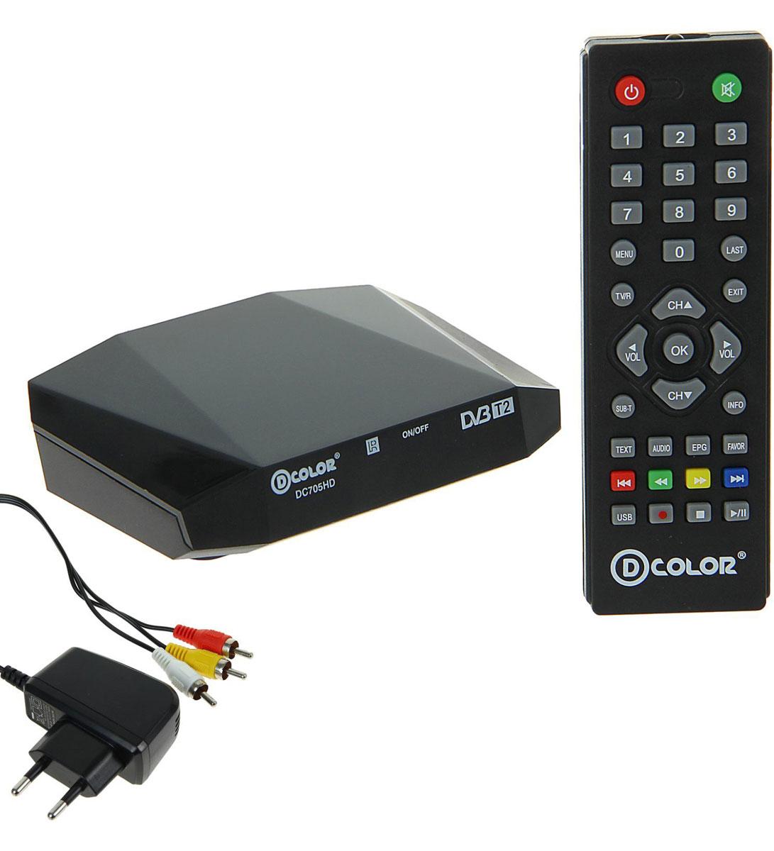 D-Color DC705HD DVB-T2 цифровой ТВ-тюнер4603725280878Цифровой ТВ-тюнер D-Color DC705HD отвечает всем самым современным требованиям к цифровым ресиверам. Новейшее ПО и качественные комплектующие позволяют передавать четкую, яркую, сочную картинку даже в самых отдаленных регионах России. Процессор: Ali 3821 Тюнер: R836 Тип корпуса: пластик