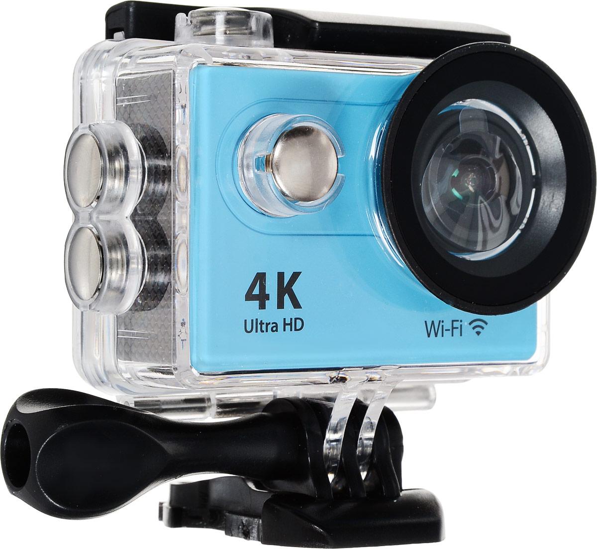 Eken H9 Ultra HD, Blue экшн-камераH9Экшн-камера Eken H9 Ultra HD позволяет записывать видео с разрешением 4К и очень плавным изображением до 30 кадров в секунду. Камера оснащена 2 TFT LCD экраном. Эта модель сделана для любителей спорта на улице, подводного плавания, скейтбординга, скай-дайвинга, скалолазания, бега или охоты. Снимайте с руки, на велосипеде, в машине и где угодно. По сравнению с предыдущими версиями, в Eken H9 Ultra HD вы найдете уменьшенные размеры корпуса, увеличенный до 2-х дюймов экран, невероятную оптику и фантастическое разрешение изображения при съемке 30 кадров в секунду! Управляйте вашей H9 на своем смартфоне или планшете. Приложение Ez iCam App позволяет работать с браузером и наблюдать все то, что видит ваша камера.