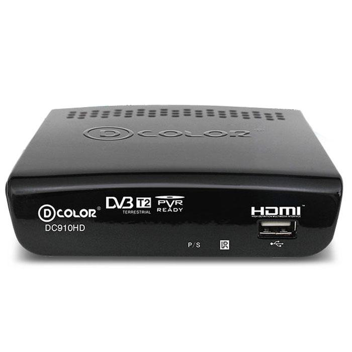 D-Color DC910HD DVB-T2 цифровой ТВ-тюнер6907325819109Цифровой ТВ-тюнер D-Color DC910HD отвечает всем самым современным требованиям к цифровым ресиверам. Новейшее ПО и качественные комплектующие позволяют передавать четкую, яркую, сочную картинку даже в самых отдаленных регионах России. Устройство позволяет записывать видео в формате Full HD на внешний жесткий диск, подключаемый посредством USB. Процессор: Ali 3812 Maxliner 608 Тип корпуса: пластик Диапазон принимаемых частот: 174-862 Mгц