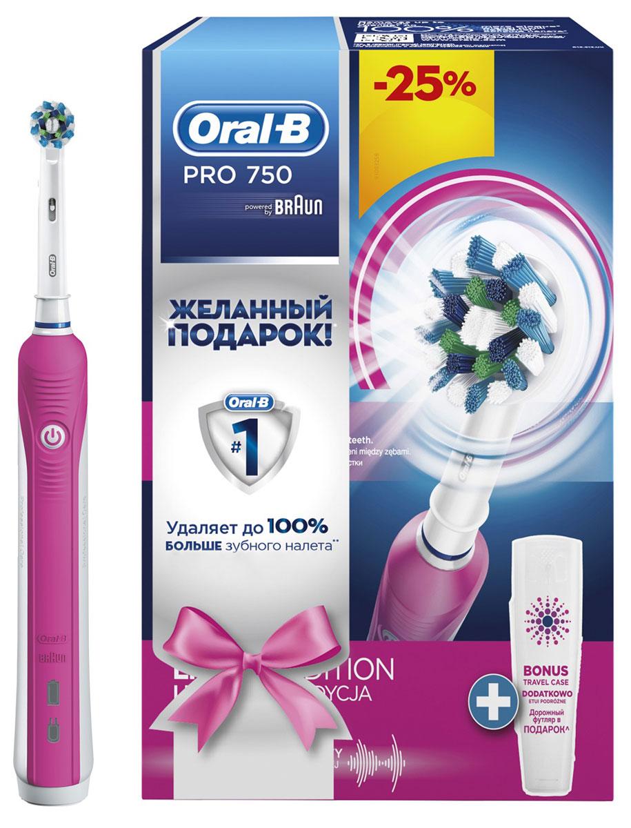 Oral-B Pro 750 Cross Action, Pink электрическая зубная щетка